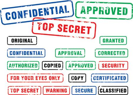 authorized: Various security rubber stamps (top secret, confidental etc.)