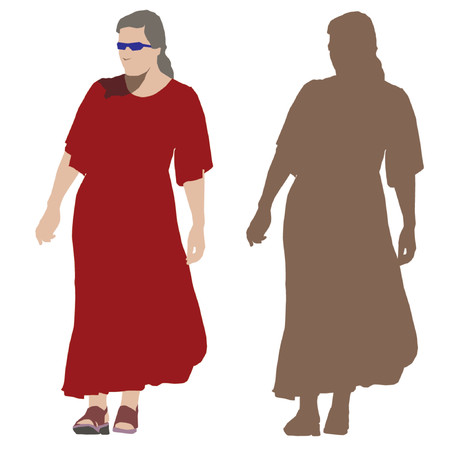 Young walking woman in long red dress. Vector silhouette Vector