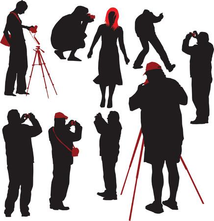 fotografi: Sagome di tiro giovani fotografi modello. Vector illustration