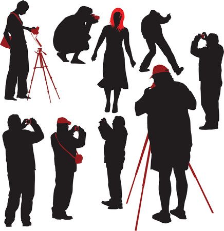 Silhouettes of photographers shooting young model. Vector illustration Vector