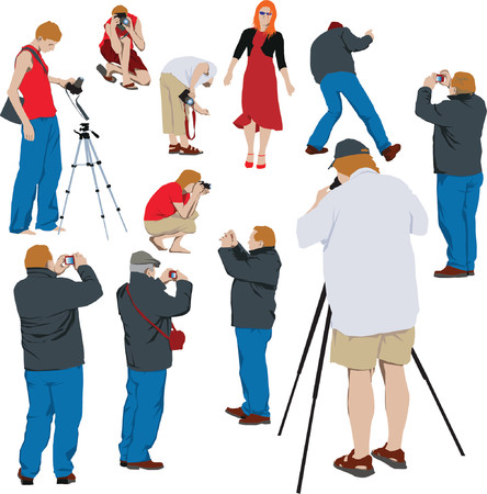 paparazzi: 10 photographers shooting young model. Color vector illustration
