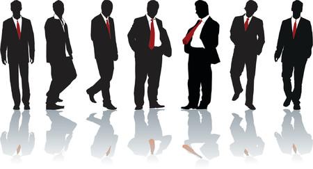 businessteam: Group of seven powerful businessmen. Vector silhouette Illustration