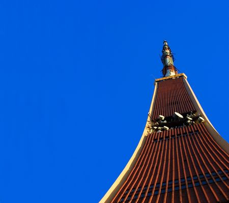 Radio and TV Tower in Riga on blue sky. Place for copy. photo