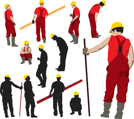workwear: Team of Construction workers in red workwear an yellow helmets. Vector illustration and silhouettes Illustration