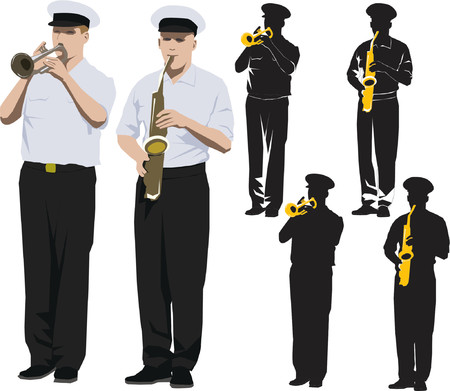 Members of military band playing trumpet and saxophone. Vector illustration and silhouette Vector