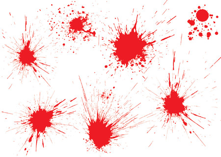 bloodstains: Red blood drops on white surface. Shot from gun. Illustration