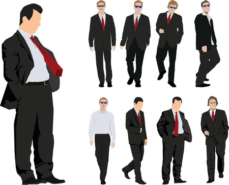 Group of nine powerful businessmen. Colour vector silhouette Vector