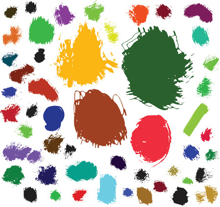 water stained: 50 ink and brush spots. Vector illustration
