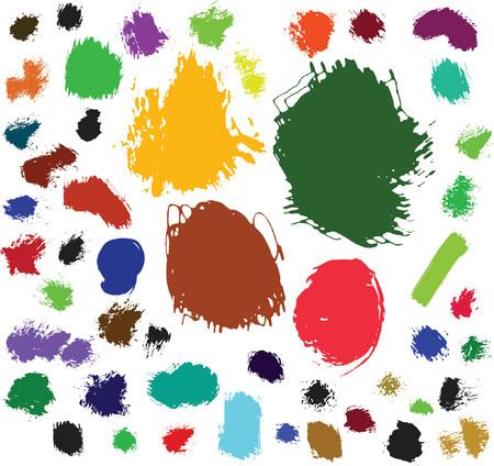 splodge: 50 ink and brush spots. Vector illustration