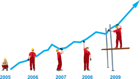yearly: Construction Business Growth And Success graph representing success and growth (vector)