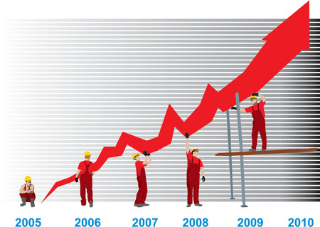 yearly: Construction Business Growth And Success graph (vector) Illustration