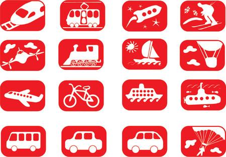 skydiving: Transportation icon set Illustration
