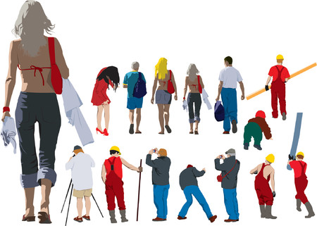 workwear: People going away. Colour illustration of people from back
