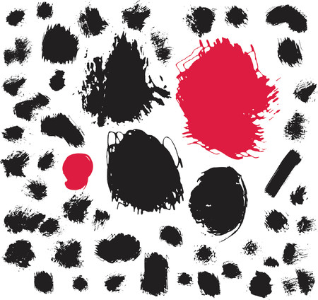50 ink and brush spots. Vector illustration Vector