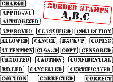 Collection of rubber stamps with words begining with letter A, B, C. Illustration