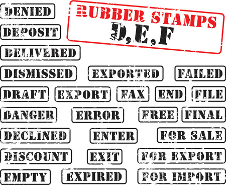 Collection of rubber stamps with words begining with letter D, E, F. Stock Vector - 1279717