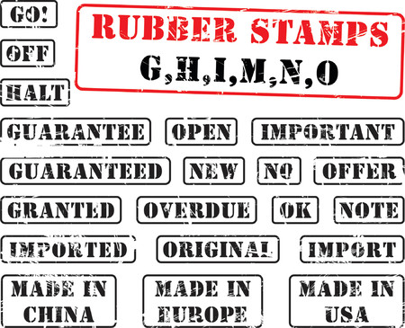made in china: Collection of rubber stamps with words begining with letter G, H, I, M, N, O.