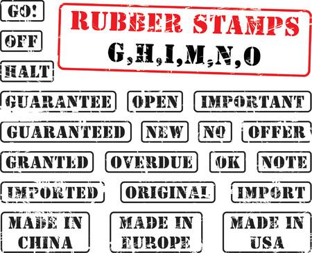 rubberstamp: Collezione di francobolli di gomma con le parole che iniziano con lettera G, H, I, M, N, O.  Vettoriali