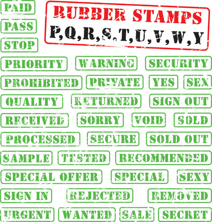 Collection of rubber stamps with words begining with letters P,Q,R,S,T,U,V,W,Y.