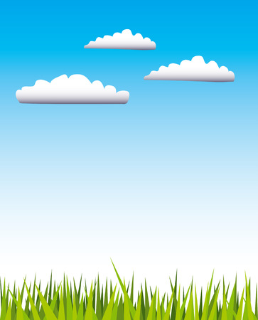 mead: Vector illustration of green grass and blue sky with three white clouds