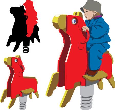schommelpaard: Vector illustratie van kind rijden schommel paard in de speel tuin