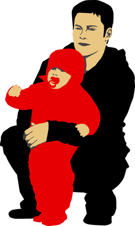 Vector illustration of Father holdin his child Vector