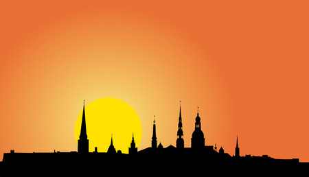 viewpoints: Vector illustration of Old Riga panorama silhouette at sunrise Illustration