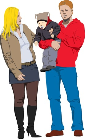 Colour vector illustration of new happy family Vector