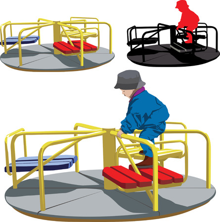 playground equipment: Vector illustration of Happy boy on the carousel in playground Illustration