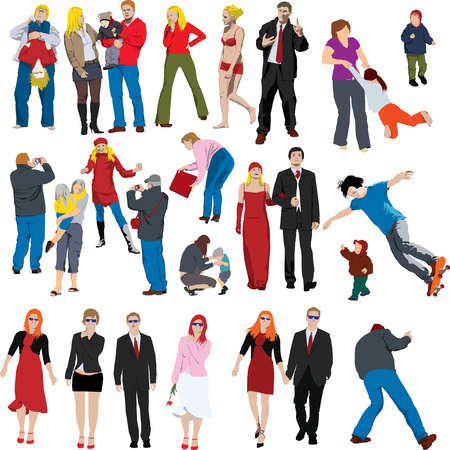 Collection of many people coloured vector illustrations