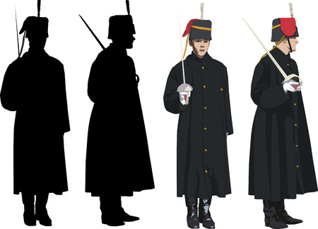 windsor: Royal Guard with sword at Buckingham palace in London. Vector illustration and silhouette