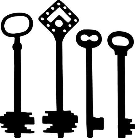 old door: Vector silhoutte of old fashioned skeleton keys