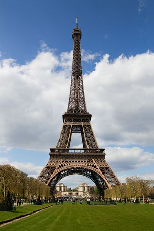 View at Eiffel Tower from the Champ de Mars (Field of Mars) photo