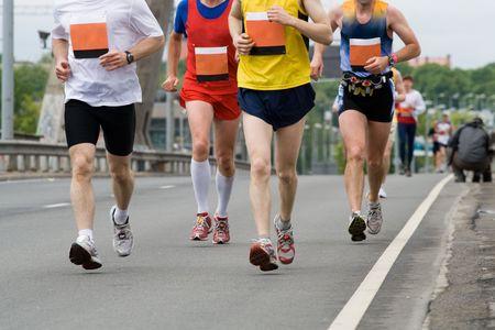Group of marathon runners in Riga city marathon