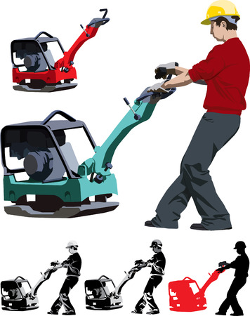 drilling machine: Vector illustration of construction worker working with compactor Illustration