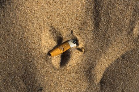 Cigarette butt in sand. Litter on the beach Stock Photo - 3168824