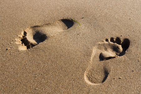 Two Footprints in wet sand at the Beach photo