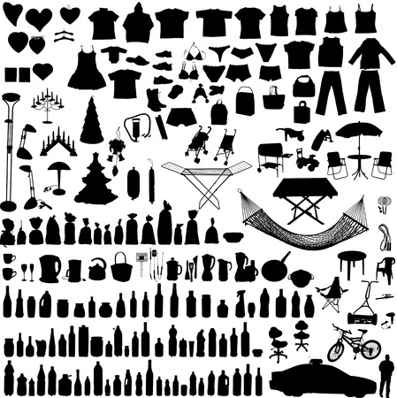 clothing shop: Miscellaneous household, clothes and others vector objects