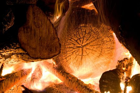 Burning wood in big bonfire place Stock Photo - 3246610