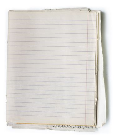 Stack of old lined papers from note book. Clipping path included to easy remove object shadow or replace background. photo