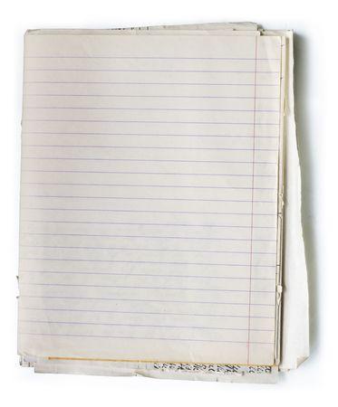 zastąpić: Stosu starych dokumentów liniowane notatki z książki. Klipsownice ścieżki, aby łatwo usunąć obiekt cieniu lub zastąpienie tle.