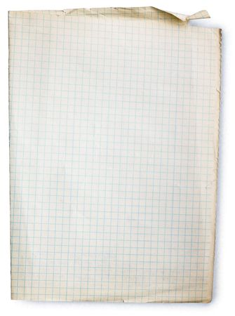 Old square lined paper from note book. Stock Photo