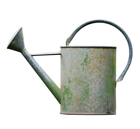 gardening tools: Aged metalic watering can isolated on white background Stock Photo