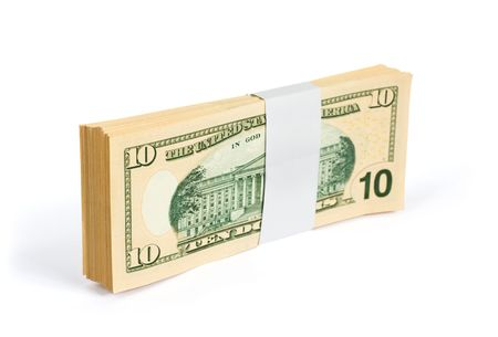 alexander hamilton: Wad of 10 dollar bank notes isolated on white. Clipping path included to easy remove object shadow or replace background. The United States ten-dollar bill ($10) is a denomination of United States currency. The first U.S. Secretary of the Treasury, Alexan Stock Photo