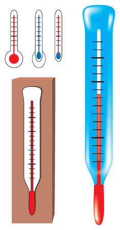 Set of vector thermometers. Uses gradient mesh for the blue thermometer.  Stock Vector - 3650213