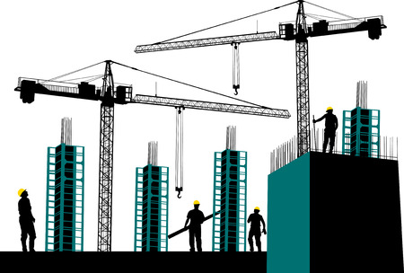 site: Silhouette of construction site with workers and scaffolding