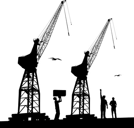 Silhouette of harbour workers and port cranes