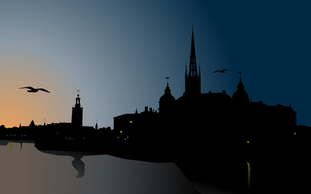 Silhouette of Stockholm, The City Hall, Riddarholm cathedral. Sweden Vector
