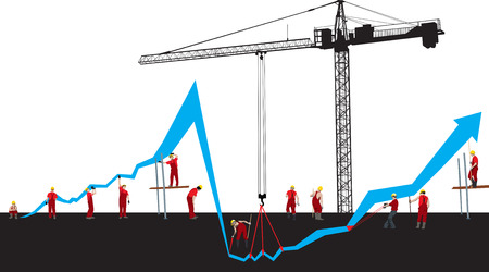 hoisting: Vector Financial crisis and recover graph with construction workers and Hoisting crane Illustration