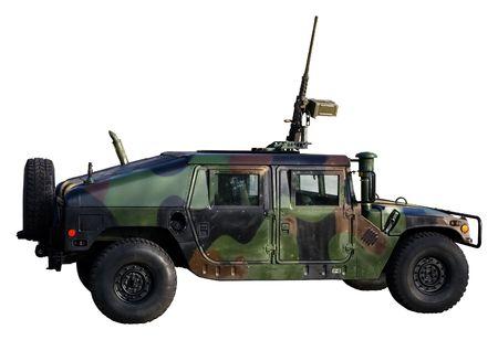 Armee-LKW, die isoliert auf weiß